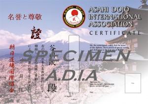 Exemplaire MENKYO SHO pour YUDANSHA A.D.I.A
